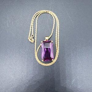 Vintage  Amethyst Glass Pendant Gold-tone Chain